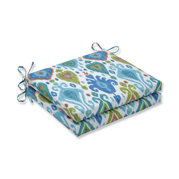 Pillow Perfect Set of 2 Paso Caribe Oversized Squared Corners Patio Seat Cushion