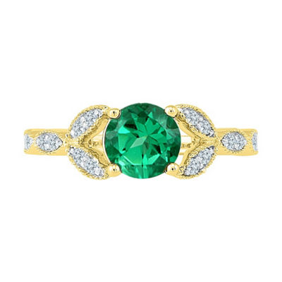 Womens 1/6 CT. T.W. Lab Created Green Emerald 10K Gold Cocktail Ring