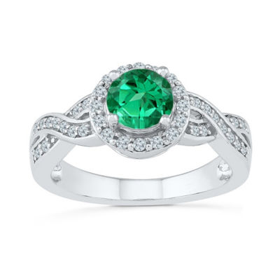 Womens 1/4 CT. T.W. Lab Created Green Emerald Cocktail Ring