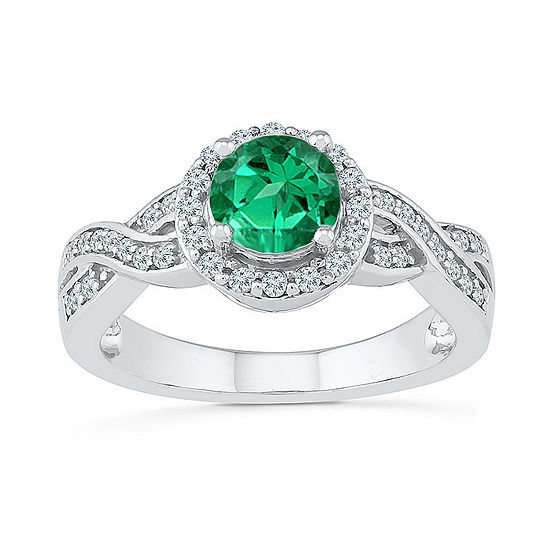 Womens 1/4 CT. T.W. Lab Created Green Emerald Sterling Silver Cocktail Ring