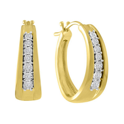 1/10 CT. T.W. GENUINE White Diamond 14K GOLD OVER SILVER 23mm Hoop Earrings