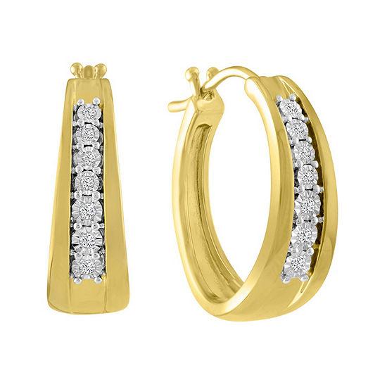 1/10 CT. T.W. Genuine White Diamond 14K Gold Over Silver 23mm Hoop Earrings