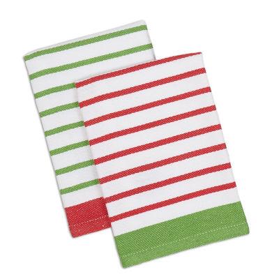 Christmas Candy Stripe Dishtowel & Dishcloth Set -Set of 4