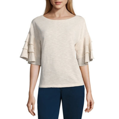 a.n.a Womens Round Neck Short Sleeve Blouse