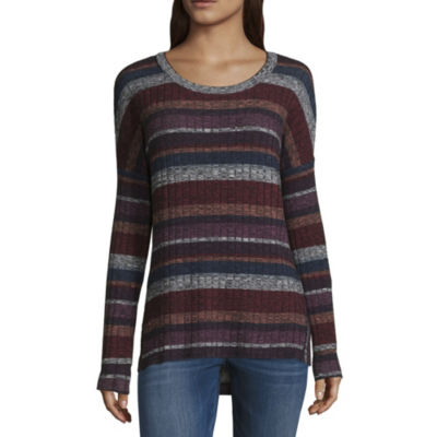 by&by Womens Scoop Neck Long Sleeve Blouse-Juniors
