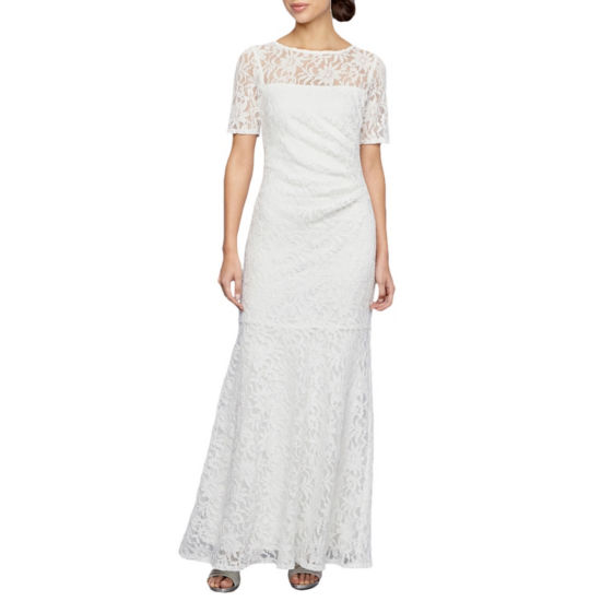 Decoded Short Sleeve Lace Evening Gown