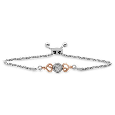 Hallmark Diamonds 1/7 CT. T.W. Genuine White Diamond 14K Rose Gold Over Silver Sterling Silver Heart Bolo Bracelet