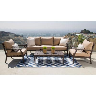 Inana Sunbrella Beige Aluminum Outdoor Patio 4 Piece Seating Set