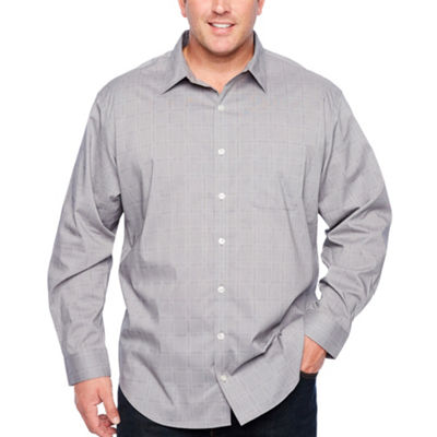 Van Heusen Traveler Performance Non-Iron Woven Long Sleeve Checked Button-Front Shirt-Big and Tall