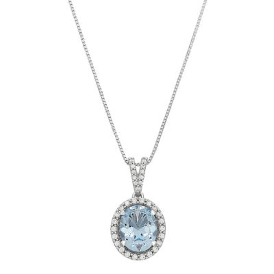 Womens Simulated Blue Aquamarine Sterling Silver Pendant Necklace