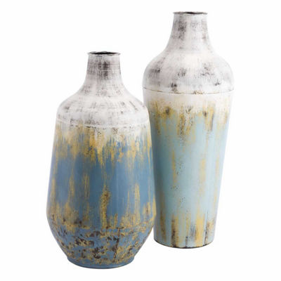 Rustic Set of 2 Metal Vases