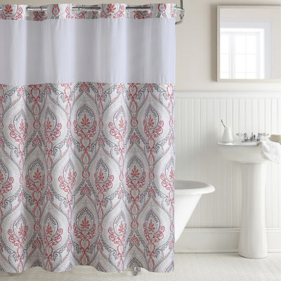 Hookless French Demask Print Shower Curtain Set
