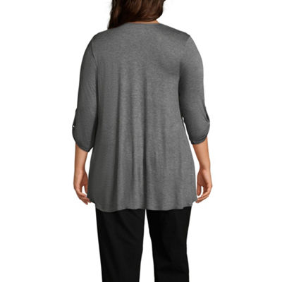 Alyx 3Q Tab Sleeve Open Front Cardigan - Plus