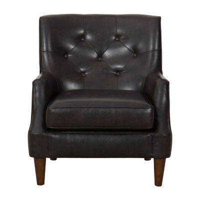 HomePop Large Tufted Faux Leather Accent Chair