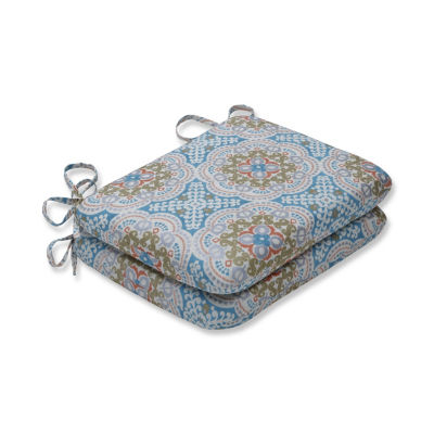 Pillow Perfect Set of 2 Astrid Aqua Rounded Corners Patio Seat Cushion
