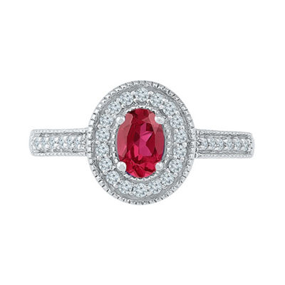 Womens 1/5 CT. T.W. Lab Created Red Ruby Sterling Silver Cocktail Ring