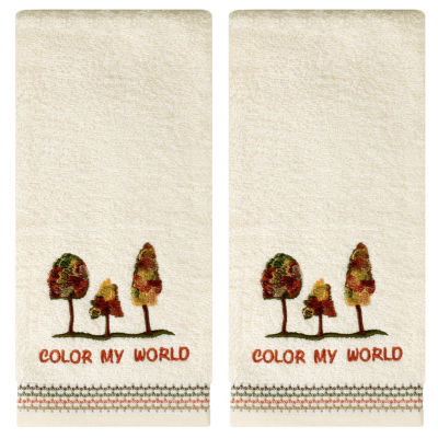 Saturday Knight Color My World 2-pc. Embroidered Trees + Leaves Hand Towel