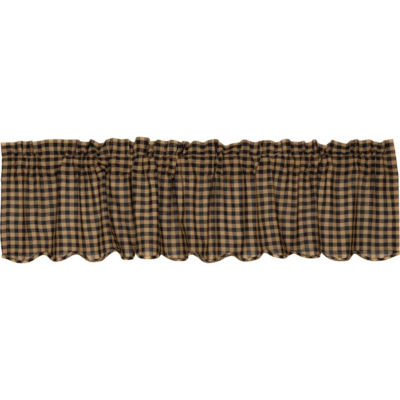 Primitive Window Black Check Scalloped Valance