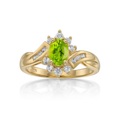 Womens Green Peridot Gold Over Silver Cocktail Ring
