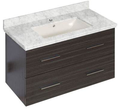 36-in. W Wall Mount Dawn Grey Vanity Set For 1 Hole Drilling Bianca Carara Top Biscuit UM Sink