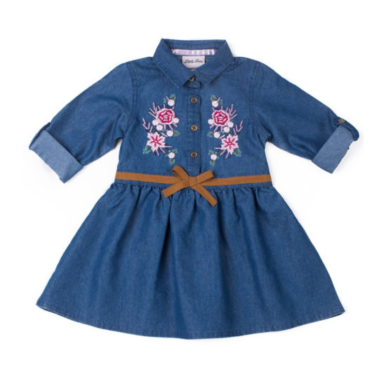 Little Lass Long Sleeve Denim Belted Dress - Baby Girls