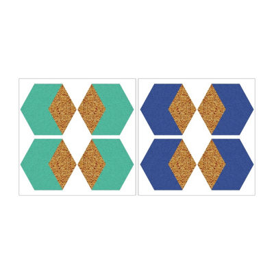 Brewster Wall Hex Blue And Green Cork Organizer Shapes Wall Decal