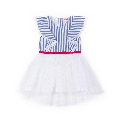 Little Lass Sleeveless Stripe Dot Dress - Baby Girls