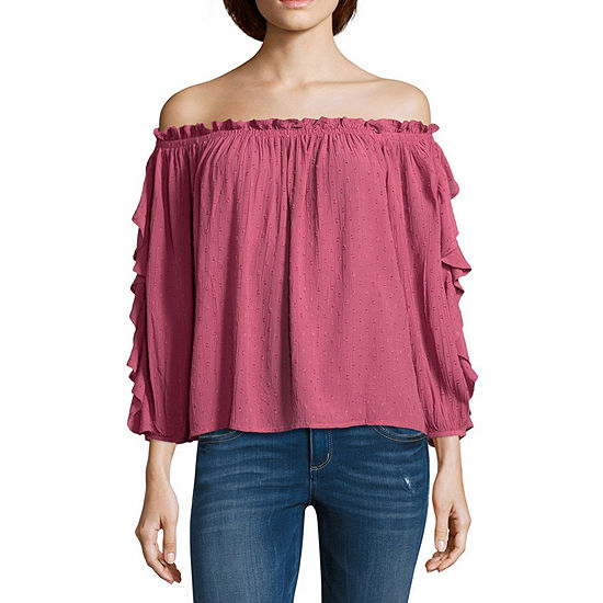 Arizona Womens 3/4 Sleeve Peasant Top-Juniors
