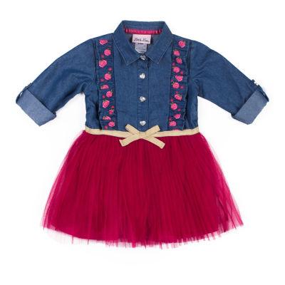 Little Lass Long Sleeve Chambray Rose Dress - Baby Girls