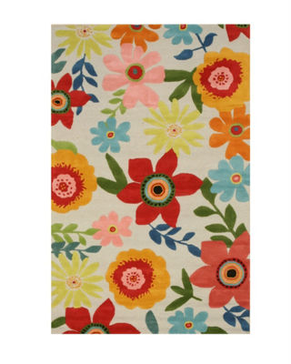 Hand-Tufted Wool Transitional Floral Camellia Rug