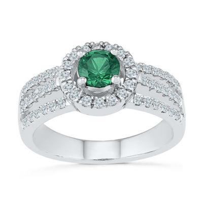 Womens 3/8 CT. T.W. Lab Created Green Emerald Cocktail Ring