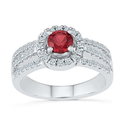 Womens 3/8 CT. T.W. Lab Created Red Ruby Sterling Silver Cocktail Ring