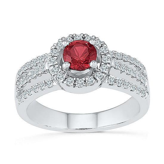 Womens 3/8 CT. T.W. Lab Created Red Ruby Cocktail Ring