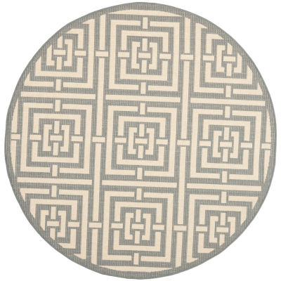 Safavieh Courtyard Collection Varvara Geometric Indoor/Outdoor Round Area Rug
