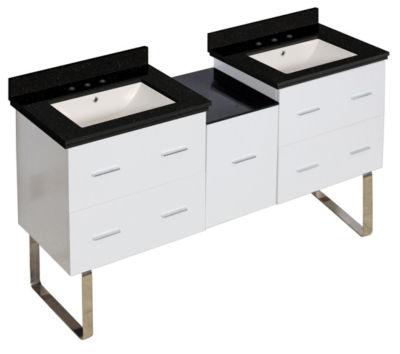 61.5-in. W Floor Mount White Vanity Set For 3H8-in. Drilling Black Galaxy Top Biscuit UM Sink