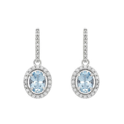 Simulated Blue Aquamarine Sterling Silver Drop Earrings