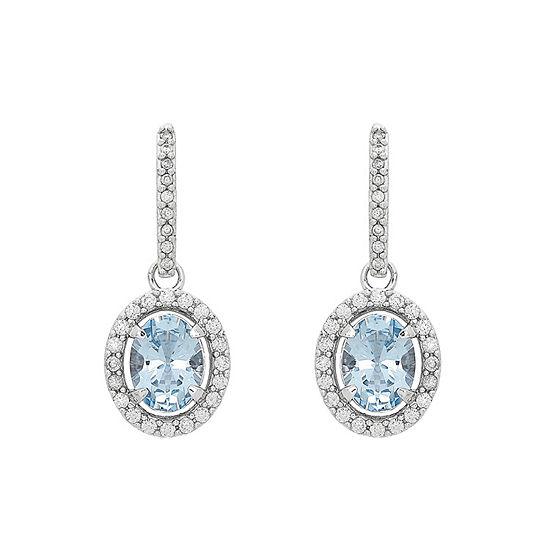 Simulated Blue Aquamarine Sterling Silver Drop Earrings