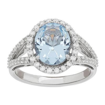 Womens Simulated Blue Aquamarine Cocktail Ring