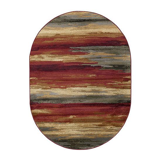 Tayse Prairie Contemporary Stripe Oval Area Rug