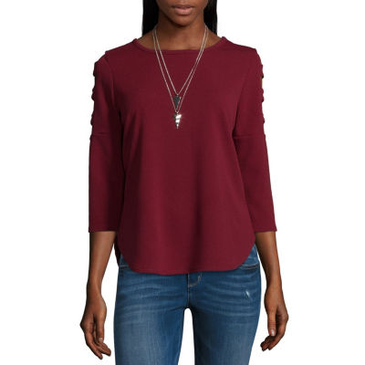 by&by 3/4 Sleeve Crew Neck Woven Blouse-Juniors