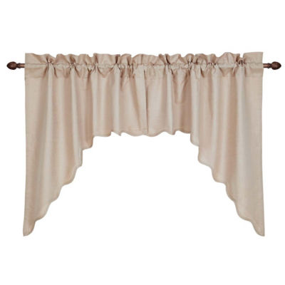 Farmhouse Window Charlotte Solid Natural Scalloped Swag Pair