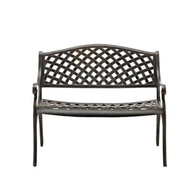 42-Inch Cast Aluminum Wicker Style Patio Bench