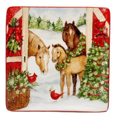 Certified International Christmas On The Farm Serving Platter