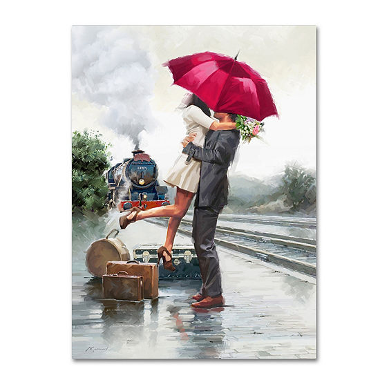 Trademark Fine Art The Macneil Studio Couple on Train Station Giclee Canvas Art