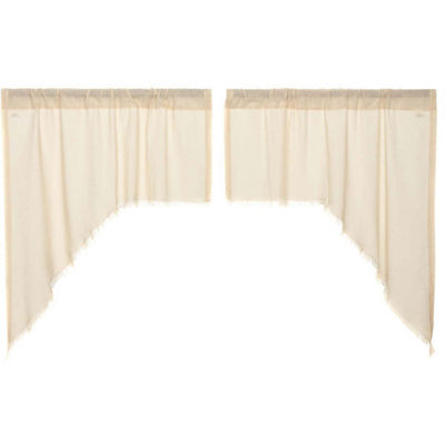 Farmhouse Window Tobacco Cloth Fringed Swag Pair