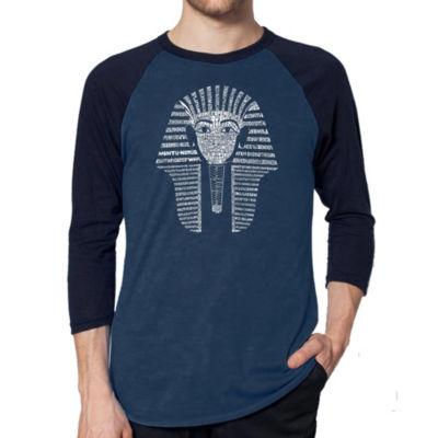 Los Angeles Pop Art Men's Raglan Baseball Word Art T-shirt - KING TUT