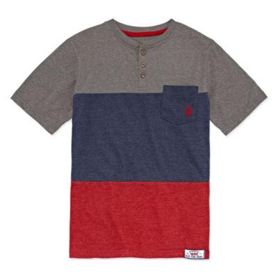U.S. Polo Assn. Short Sleeve Henley Shirt Boys