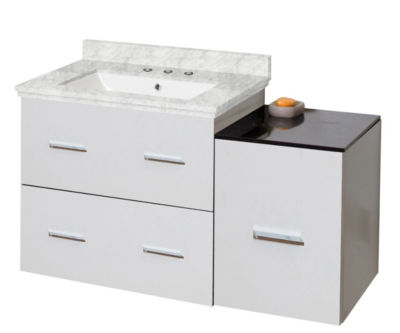 37.75-in. W Wall Mount White Vanity Set For 3H8-in. Drilling Bianca Carara Top White UM Sink