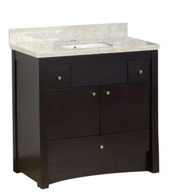 36-in. W Floor Mount Distressed Antique Walnut Vanity Set For 1 Hole Drilling Beige Top White UM Sink