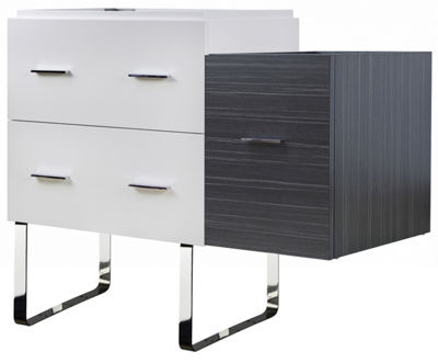37.25-in. W 18-in. D Modern Plywood-Veneer VanityBase Set Only In White-Dawn Grey